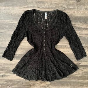 Free People Lace 3/4 Sleeve Sheer Top Size S Black
